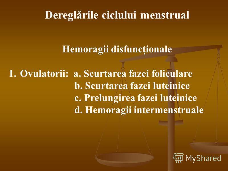 Dereglările ciclului menstrual Hemoragii disfuncţionale 1.Ovulatorii: a. Scurtarea fazei foliculare b. Scurtarea fazei luteinice c. Prelungirea fazei luteinice d. Hemoragii intermenstruale