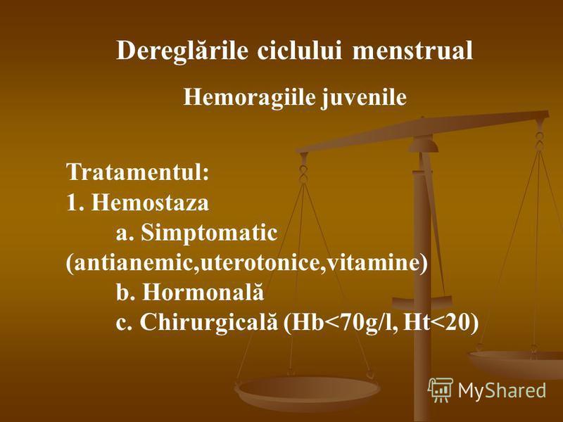 Dereglările ciclului menstrual Hemoragiile juvenile Tratamentul: 1. Hemostaza a. Simptomatic (antianemic,uterotonice,vitamine) b. Hormonală c. Chirurgicală (Hb<70g/l, Ht<20)