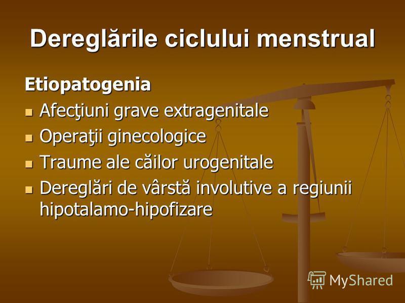 Dereglările ciclului menstrual Etiopatogenia Afecţiuni grave extragenitale Afecţiuni grave extragenitale Operaţii ginecologice Operaţii ginecologice Traume ale căilor urogenitale Traume ale căilor urogenitale Dereglări de vârstă involutive a regiunii