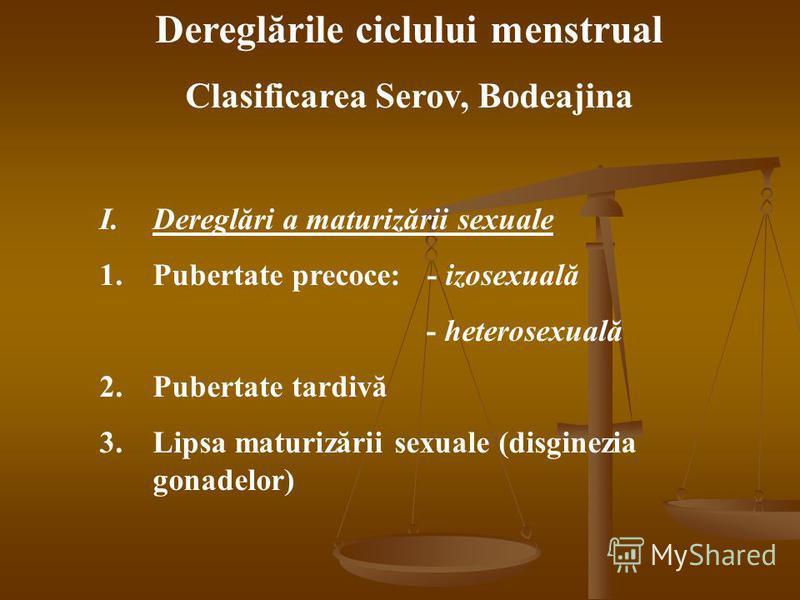 Dereglările ciclului menstrual Clasificarea Serov, Bodeajina I.Dereglări a maturizării sexuale 1.Pubertate precoce: - izosexuală - heterosexuală 2.Pubertate tardivă 3.Lipsa maturizării sexuale (disginezia gonadelor)
