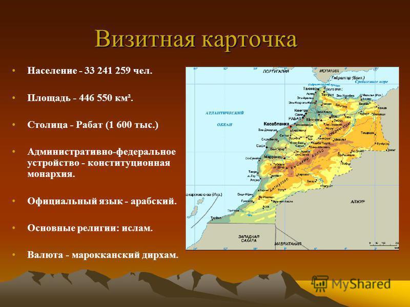 Визитная карточка Население - 33 241 259 чел. Площадь - 446 550 км². Столица - Рабат (1 600 тыс.) Административно-федеральное устройство - конституционная монархия. Официальный язык - арабский. Основные религии: ислам. Валюта - марокканский дирхам.