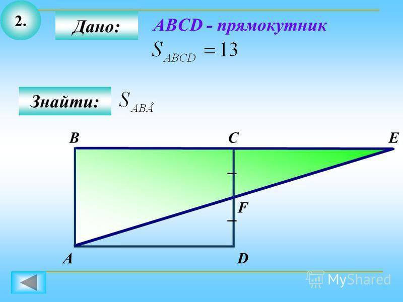 2. Дано: СВ Знайти: АD E F ABCD - прямокутник