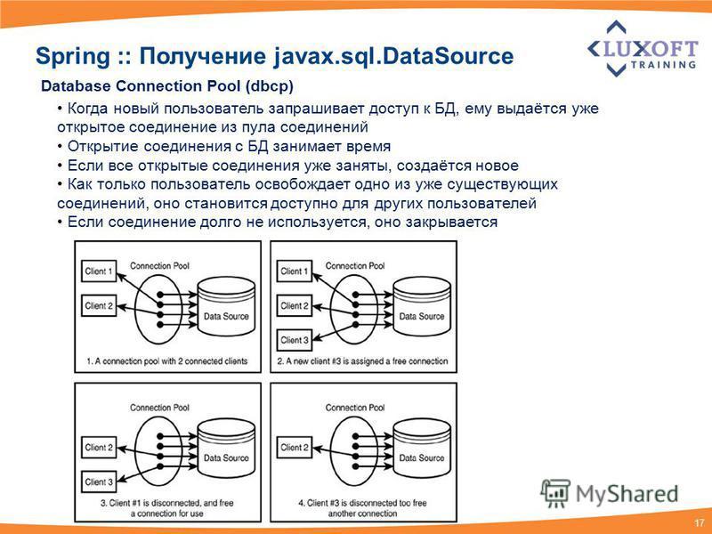 17 Database Connection Pool (dbcp) Когда новый пользователь запрашивает доступ к БД, ему выдаётся уже открытое соединение из пула соединений Открытие соединения с БД занимает время Если все открытые соединения уже заняты, создаётся новое Как только п