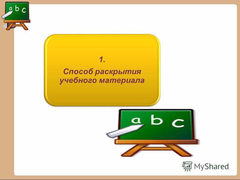 1. Способ раскрытия учебного материала