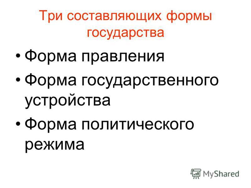 Три составляющих формы государства Форма правления Форма государственного устройства Форма политического режима