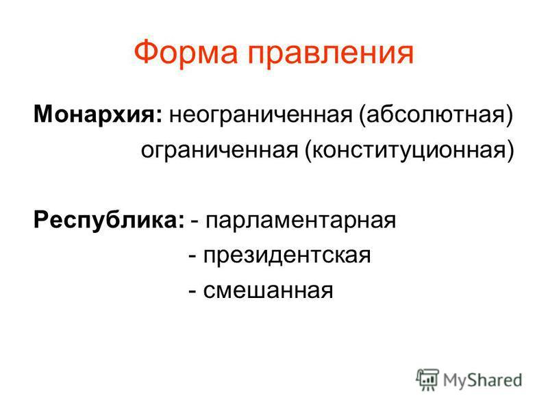 Форма правления Монархия: неограниченная (абсолютная) ограниченная (конституционная) Республика: - парламентарная - президентская - смешанная