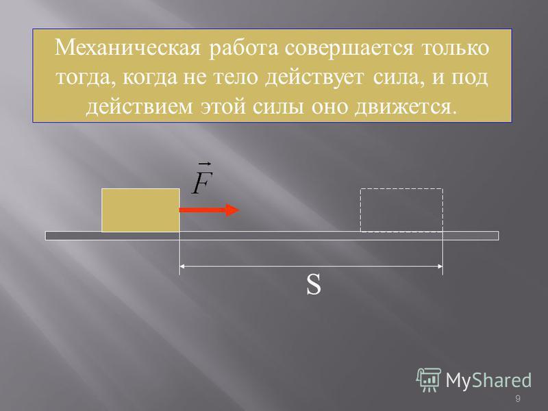 9 Механическая работа совершается только тогда, когда не тело действует сила, и под действием этой силы оно движется. S
