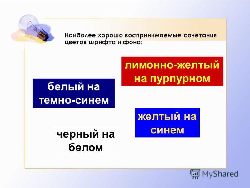 Наиболее хорошо воспринимаемые сочетания цветов шрифта и фона: белый на темно-синем лимонно-желтый на пурпурном черный на белом желтый на синем