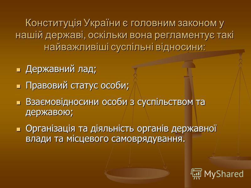 Конституція України є головним законом у нашій державі, оскільки вона регламентує такі найважливіші суспільні відносини: Державний лад; Державний лад; Правовий статус особи; Правовий статус особи; Взаємовідносини особи з суспільством та державою; Вза