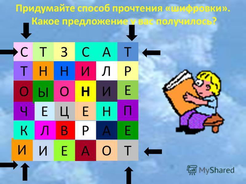 Ч С Т О Ы ОН НН И ТЗС ЕЦЕ П А И ИЕ ОТ Придумайте способ прочтения «шифровки». Какое предложение у вас получилось? И Н Л Р А АВЛК Т Р Е Е