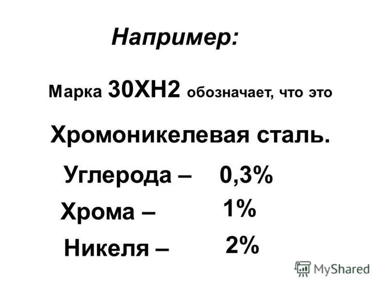 Например: Марка 30ХН2 обозначает, что это Хромоникелевая сталь. Углерода – Хрома – Никеля – 0,3% 1% 2%