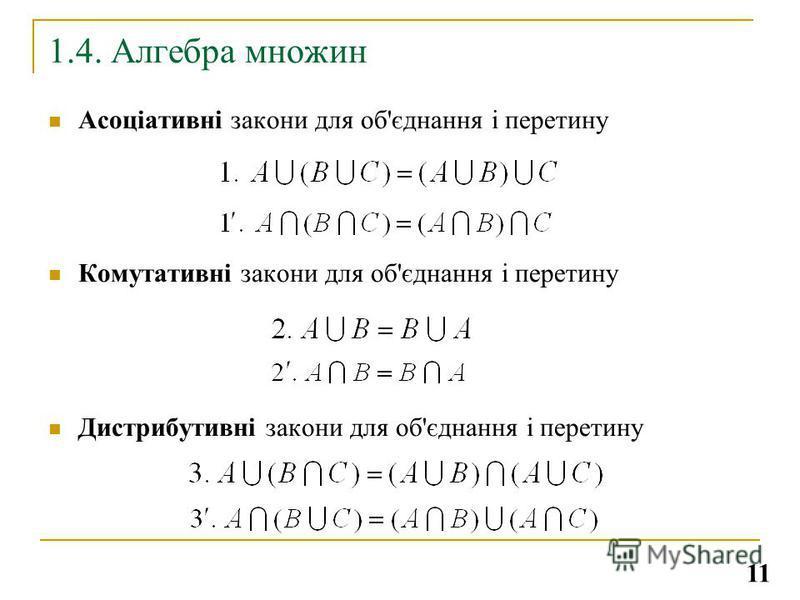 1.4. Алгебра множин Асоціативні закони для об'єднання і перетину Комутативні закони для об'єднання і перетину Дистрибутивні закони для об'єднання і перетину 11
