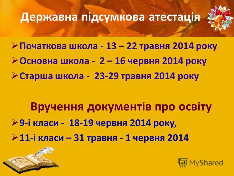 Початкова школа - 13 – 22 травня 2014 року Основна школа - 2 – 16 червня 2014 року Старша школа - 23-29 травня 2014 року Вручення документів про освіту 9-і класи - 18-19 червня 2014 року, 11-і класи – 31 травня - 1 червня 2014 Державна підсумкова ате