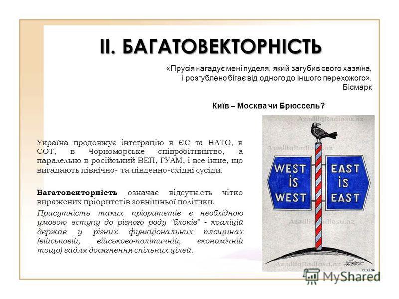 ІІ. БАГАТОВЕКТОРНІСТЬ Україна продовжує інтеграцію в ЄС та НАТО, в СОТ, в Чорноморське співробітництво, а паралельно в російський ВЕП, ГУАМ, і все інше, що вигадають північно- та південно-східні сусіди. Багатовекторність означає відсутність чітко вир