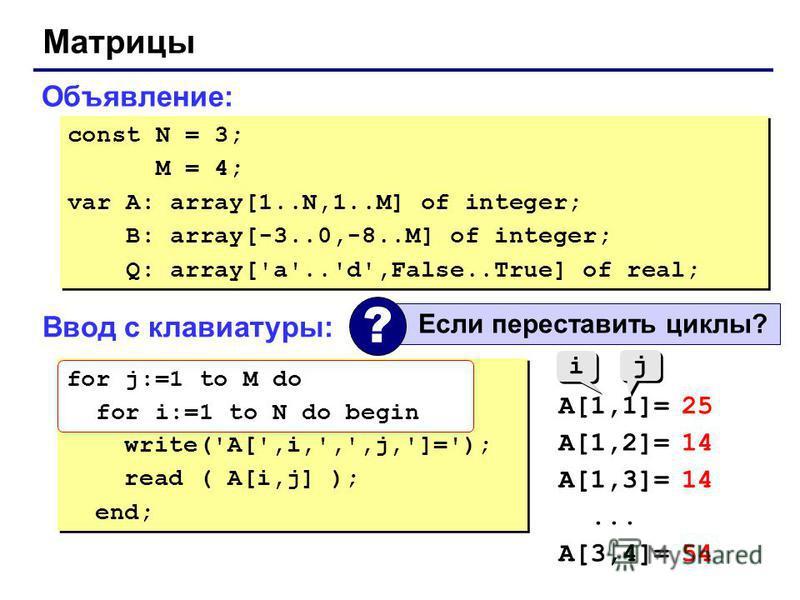 Матрицы Объявление: const N = 3; M = 4; var A: array[1..N,1..M] of integer; B: array[-3..0,-8..M] of integer; Q: array['a'..'d',False..True] of real; const N = 3; M = 4; var A: array[1..N,1..M] of integer; B: array[-3..0,-8..M] of integer; Q: array['