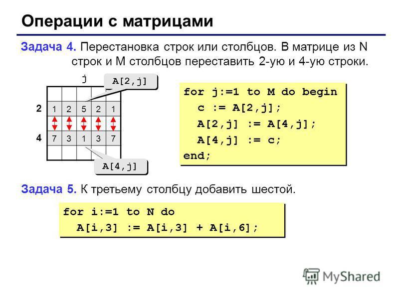 Операции с матрицами Задача 4. Перестановка строк или столбцов. В матрице из N строк и M столбцов переставить 2-ую и 4-ую строки. 12521 73137 2 4 j A[2,j] A[4,j] for j:=1 to M do begin c := A[2,j]; A[2,j] := A[4,j]; A[4,j] := c; end; for j:=1 to M do