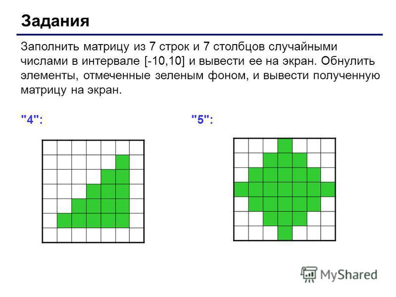 Задания Заполнить матрицу из 7 строк и 7 столбцов случайными числами в интервале [-10,10] и вывести ее на экран. Обнулить элементы, отмеченные зеленым фоном, и вывести полученную матрицу на экран. 4: 5:
