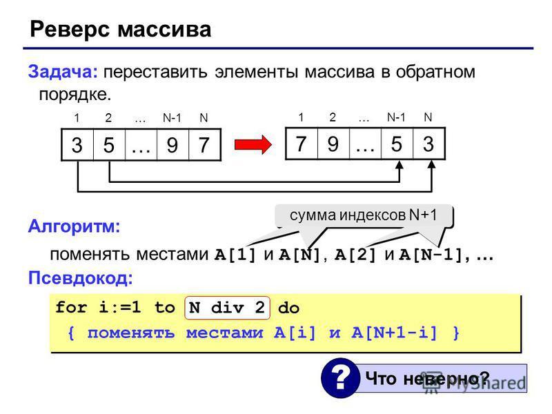 Реверс массива Задача: переставить элементы массива в обратном порядке. Алгоритм: поменять местами A[1] и A[N], A[2] и A[N-1], … Псевдокод: 35…97 79…53 12…N-1N 12… N for i:=1 to N do { поменять местами A[i] и A[N+1-i] } for i:=1 to N do { поменять ме