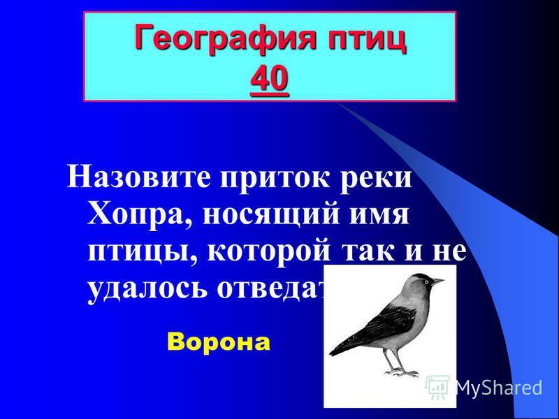 Назовите приток реки Хопра, носящий имя птицы, которой так и не удалось отведать сыра? География птиц 40 40 Ворона