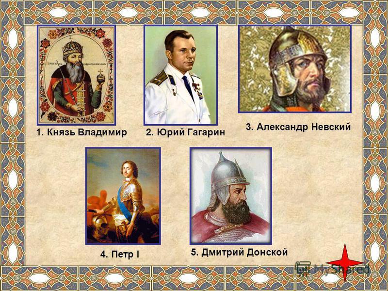 1. Князь Владимир 2. Юрий Гагарин 3. Александр Невский 4. Петр I 5. Дмитрий Донской