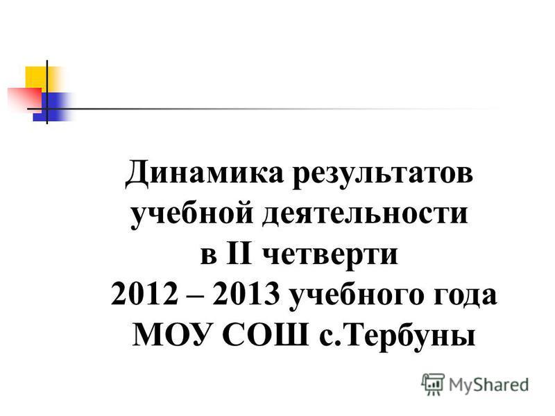 Динамика результатов учебной деятельности в II четверти 2012 – 2013 учебного года МОУ СОШ с.Тербуны