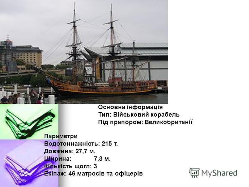 Основна інформація Тип: Військовий корабель Під прапором: Великобританії Параметри Водотоннажність: 215 т. Довжина: 27,7 м. Ширина:7,3 м. Кількість щогл: 3 Екіпаж: 46 матросів та офіцерів