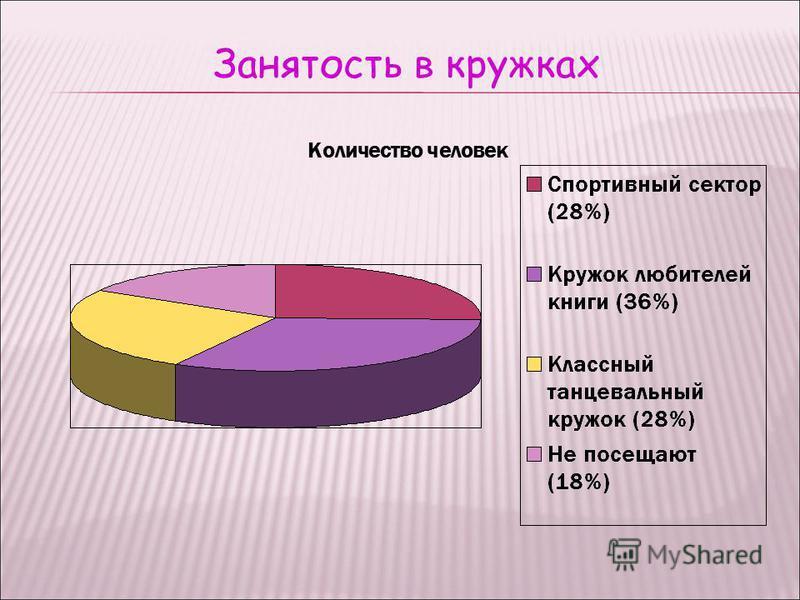 Занятость в кружках Количество человек