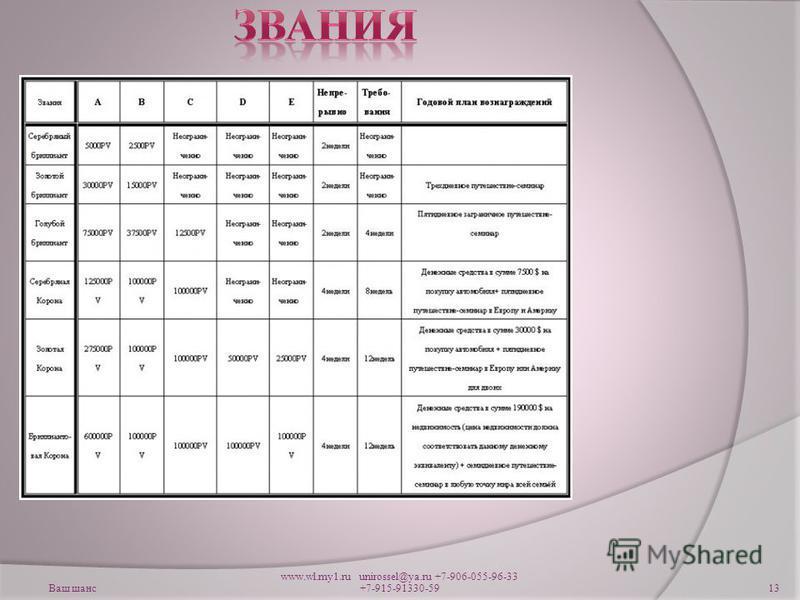 Ваш шанс www.wl.my1. ru unirossel@ya.ru +7-906-055-96-33 +7-915-91330-5913
