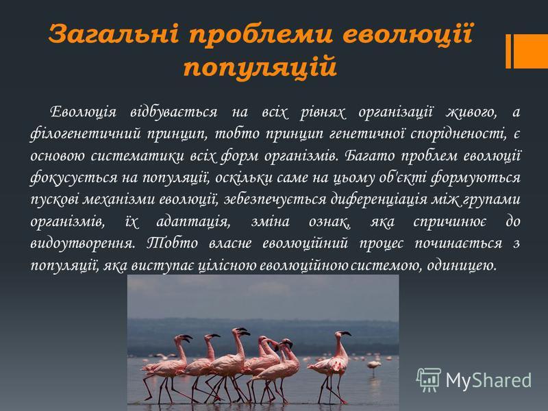 Загальні проблеми еволюції популяцій Еволюція відбувається на всіх рівнях організації живого, а філогенетичний принцип, тобто принцип генетичної спорідненості, є основою систематики всіх форм організмів. Багато проблем еволюції фокусується на популяц