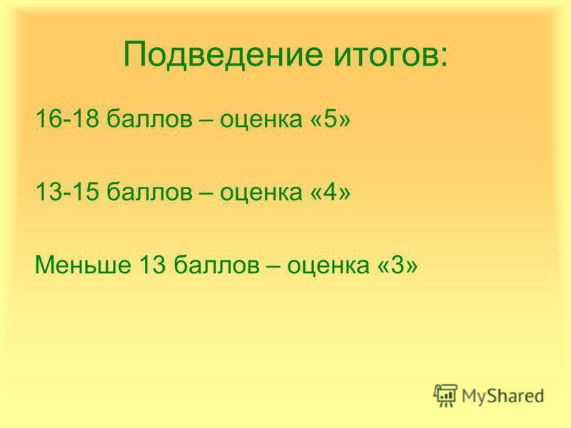 Подведение итогов: 16-18 баллов – оценка «5» 13-15 баллов – оценка «4» Меньше 13 баллов – оценка «3»