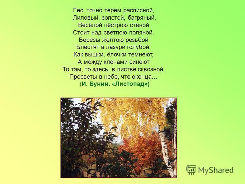 Лес, точно терем расписной, Лиловый, золотой, багряный, Весёлой пёстрою стеной Стоит над светлою поляной. Берёзы жёлтою резьбой Блестят в лазури голубой, Как вышки, ёлочки темнеют, А между клёнами синеют То там, то здесь, в листве сквозной, Просветы