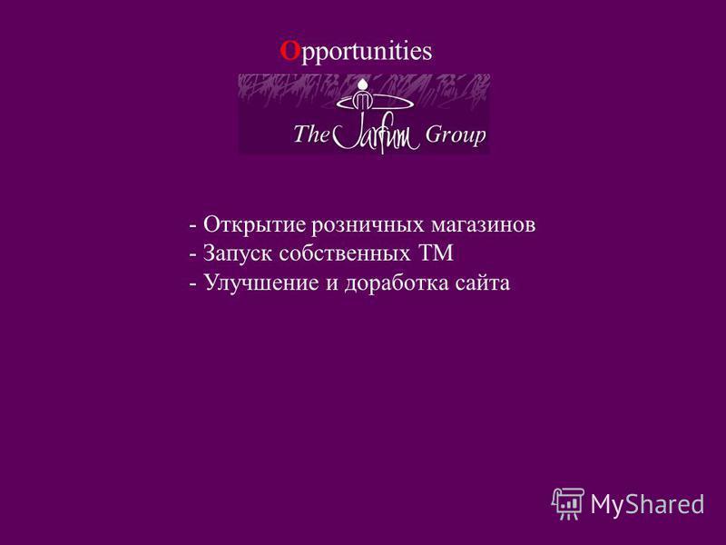 Opportunities - Открытие розничных магазинов - Запуск собственных ТМ - Улучшение и доработка сайта