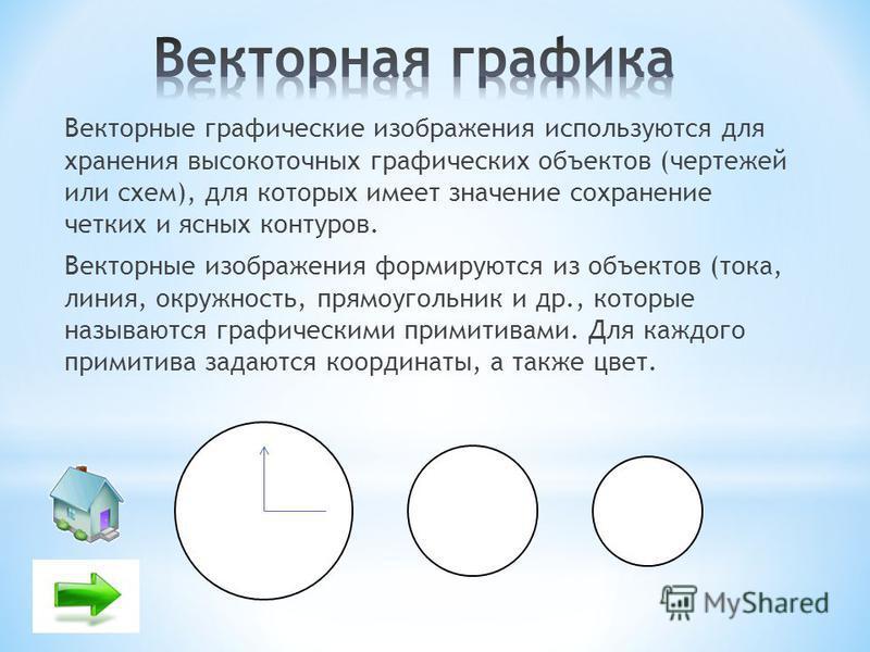 Векторные графические изображения используются для хранения высокоточных графических объектов (чертежей или схем), для которых имеет значение сохранение четких и ясных контуров. Векторные изображения формируются из объектов (тока, линия, окружность,