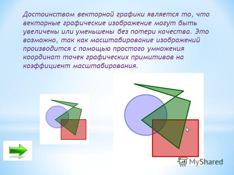 Достоинством векторной графики является то, что векторные графические изображение могут быть увеличены или уменьшены без потери качества. Это возможно, так как масштабирование изображений производится с помощью простого умножения координат точек граф