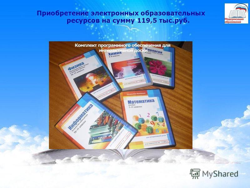 Приобретение электронных образовательных ресурсов на сумму 119,5 тыс.руб.