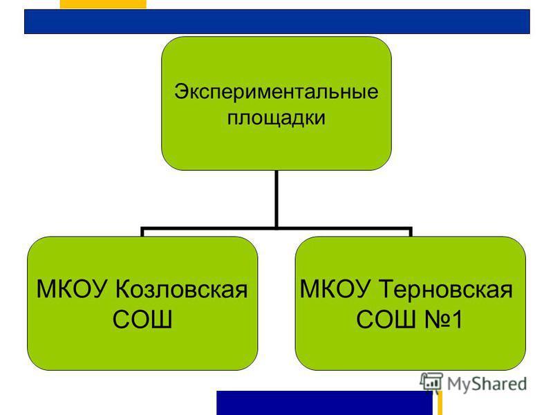 Экспериментальные площадки МКОУ Козловская СОШ МКОУ Терновская СОШ 1