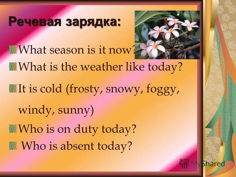 Речевая зарядка: What season is it now? What is the weather like today? It is cold (frosty, snowy, foggy, windy, sunny) Who is on duty today? Who is absent today?