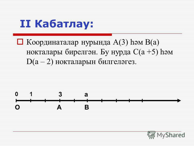 II Кабатлау: Координаталар нурында А(3) һәм В(а) нокталары бирелгән. Бу нурда С(а +5) һәм D(а – 2) нокталарын билгеләгез. 01 3 ОАВ а