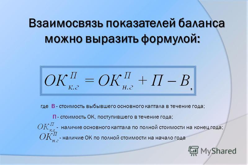 Взаимосвязь показателей баланса можно выразить формулой:, где В - стоимость выбывшего основного каптала в течение года; П - стоимость OK, поступившего в течение года; - наличие основного каптала по полной стоимости на конец года; - наличие OK по полн