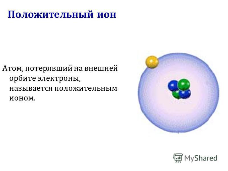 Положительный ион Атом, потерявший на внешней орбите электроны, называется положительным ионом.