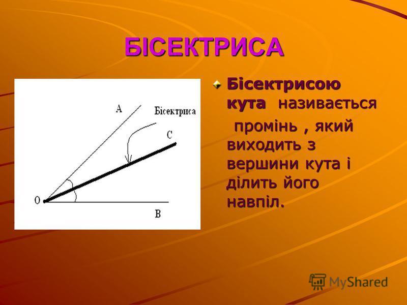 БІСЕКТРИСА Бісектрисою кута називається промінь, який виходить з вершини кута і ділить його навпіл. промінь, який виходить з вершини кута і ділить його навпіл.