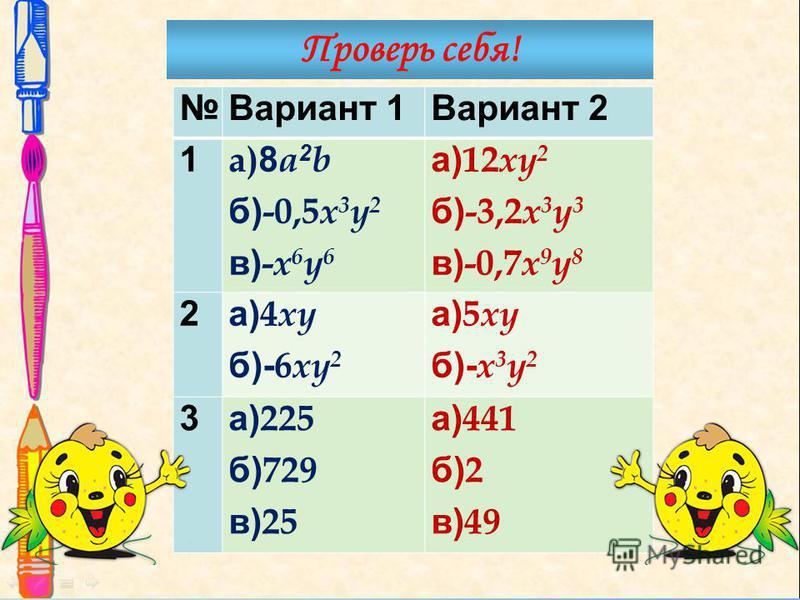 Вариант 1Вариант 2 1 a) 8 a 2 b б) -0,5 x 3 y 2 в) - x 6 y 6 а) 12 xy 2 б) -3,2 x 3 y 3 в) -0,7 x 9 y 8 2 а) 4 xy б)- 6 xy 2 а) 5 xy б)- x 3 y 2 3 а) 225 б) 729 в) 25 а) 441 б) 2 в) 49 Проверь себя!