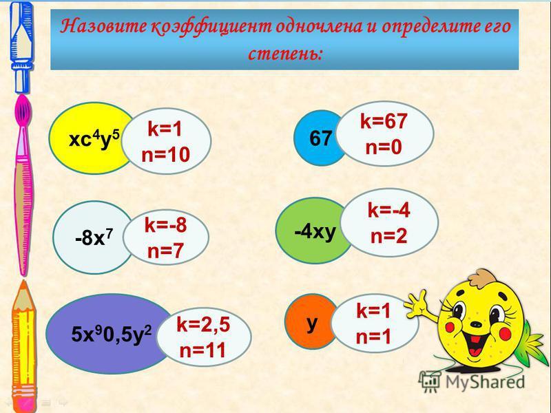 -8 х 7 кс 4 у 5 67 -4 ку 5 х 9 0,5 у 2 у k=-4 n=2 k=2,5 n=11 k=1 n=1 k=1 n=10 k=67 n=0 k=-8 n=7 Назовите коэффициент одночлена и определите его степень: