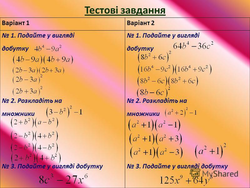 Тестові завдання Варіант 1Варіант 2 1. Подайте у вигляді добутку 2. Розкладіть на множники 3. Подайте у вигляді добутку 1. Подайте у вигляді добутку 2. Розкладіть на множники 3. Подайте у вигляді добутку