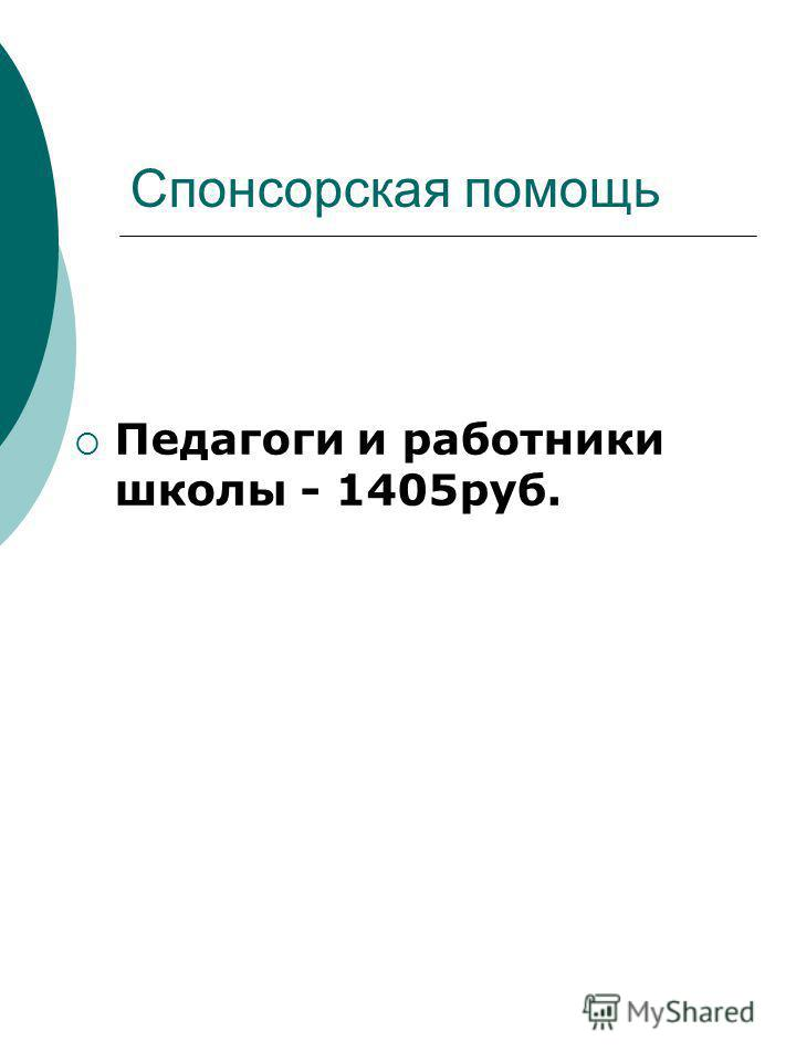 Спонсорская помощь Педагоги и работники школы - 1405 руб.