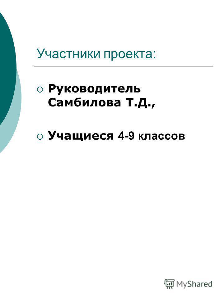 Участники проекта: Руководитель Самбилова Т.Д., Учащиеся 4-9 классов