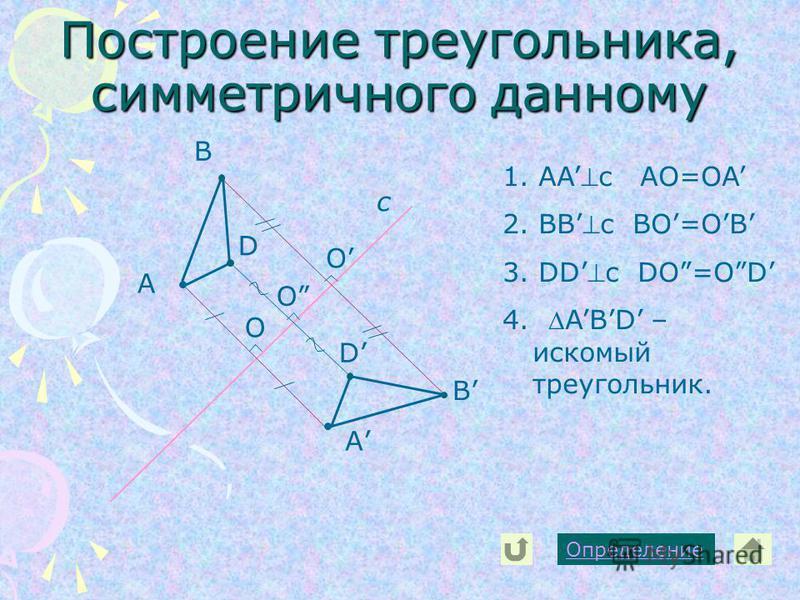Построение треугольника, симметричного данному А с А В В D D Определение 1. AAc AO=OA 2. BBc BO=OB 3. DDc DO=OD 4. ABD – искомый треугольник. O O O