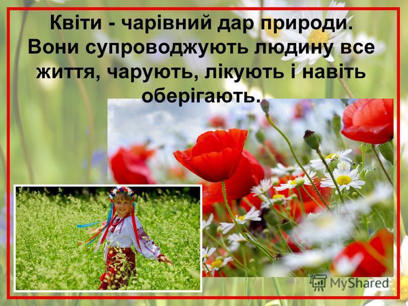 Квіти - чарівний дар природи. Вони супроводжують людину все життя, чарують, лікують і навіть оберігають.