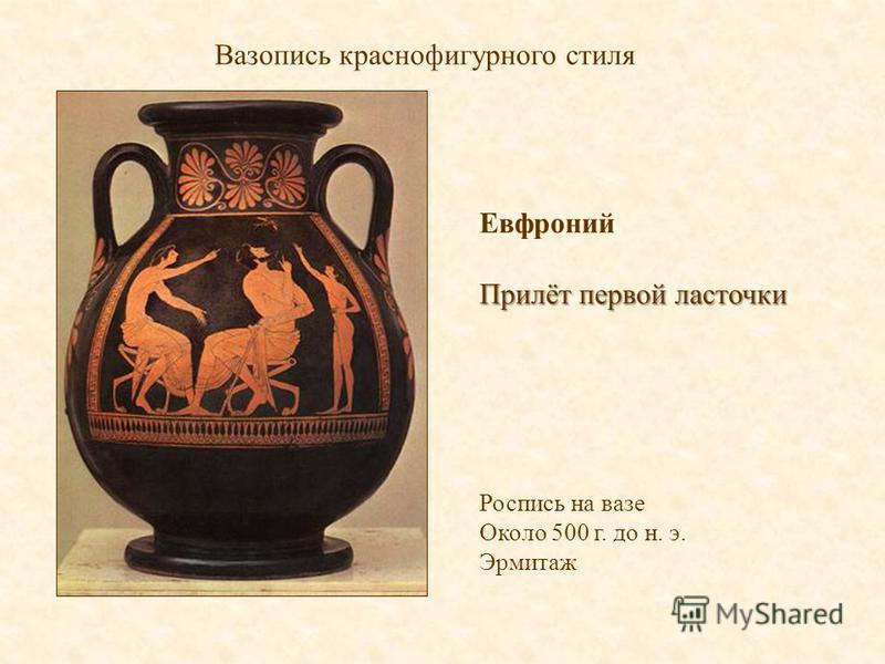 Вазопись краснофигурного стиля Евфроний Прилёт первой ласточки Роспись на вазе Около 500 г. до н. э. Эрмитаж