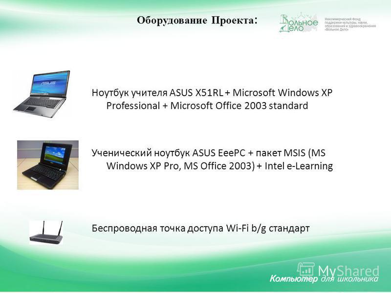 Ноутбук учителя ASUS X51RL + Microsoft Windows XP Professional + Microsoft Office 2003 standard Ученический ноутбук ASUS EeePC + пакет MSIS (MS Windows XP Pro, MS Office 2003) + Intel e-Learning Беспроводная точка доступа Wi-Fi b/g стандарт Оборудова